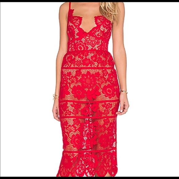 For Love And Lemons Dresses & Skirts - For Love and Lemons Red Lace Midi Gianna Dress XS